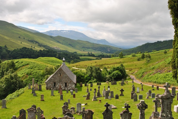 Stunning scenery surrounds the ancient burial place and the remains of a 15th century Roman Catholic church, Cille Choirill,