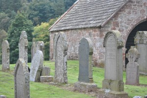 That village was right here and all that is left of it is Edzell graveyard and the burial aisle of the Lindsay family, originally part of the church but the church was destroyed in 1818.