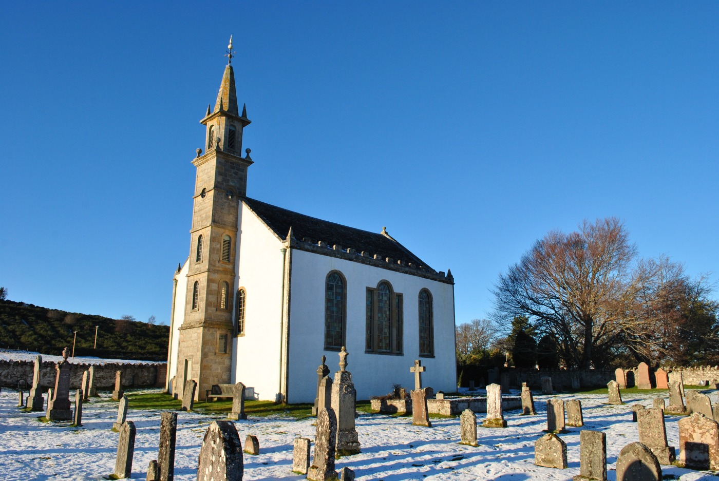 Daviot church graveyards of scotland winter sun