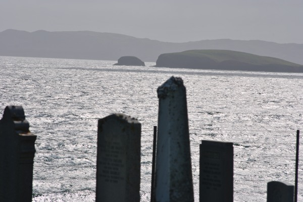 gravestones and the sea