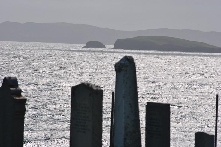 gravestones and the sea