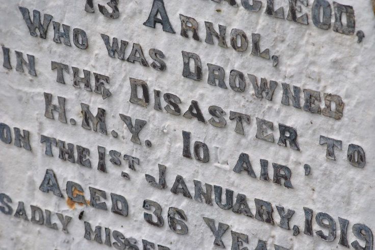 headstone of Norman MacLeod of 13 Arnold died in Iolaire disaster