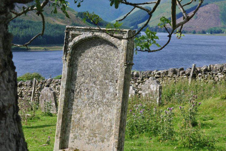gravestone overlooking St Mary's Loch