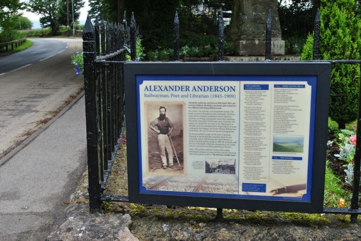 sign at graveyard for poet Alexander Anderson