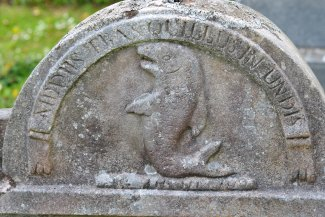dolphin carving headstone