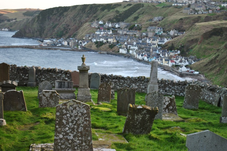 view from the kirkyard towards Gardenstown