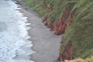 sandstone cliffs and beach