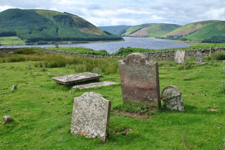 view of St Mary's Loch from graveyard